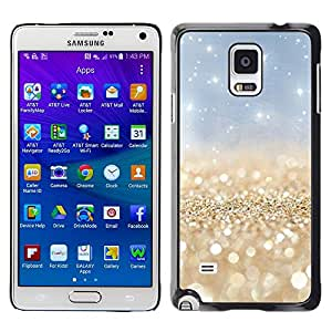 LECELL--Funda protectora / Cubierta / Piel For Samsung Galaxy Note 4 SM-N910 -- Pearls Gold Sparkly Blue Sky White --