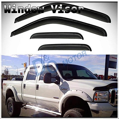 Ford Cab Mounts (D&O MOTOR 4pcs Front+Rear Smoke Sun/Rain Guard Wind Deflector Outside Mount Tape-On Vent Shade Window Visors For 99-16 Ford F250/F350/F450/F550 Super Duty Supercrew/Crew Cab With 4 Full Size Doors)
