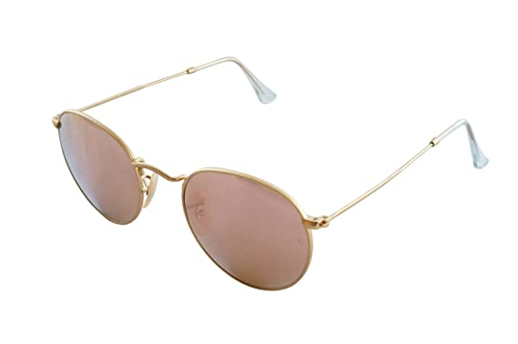 04d3b2125c11cd Image Unavailable. Image not available for. Color  Ray-Ban RB3447 112 Z2  ROUND METAL - MATTE GOLD Frame BROWN MIRROR PINK
