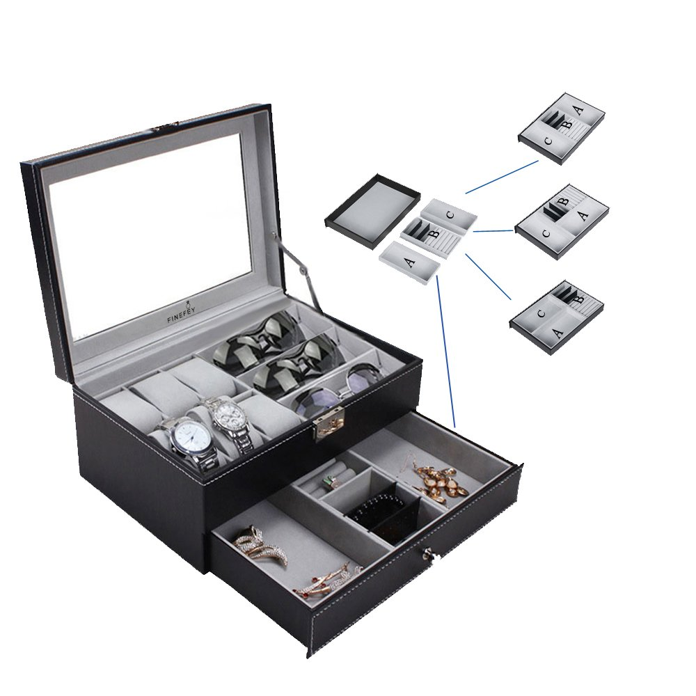 FINEFEY Watch Box Display Organizer for Men Glass Top Case with Black Leather 6 Watches Slots 3 Grey Velvet Sunglasses Organizer 3 Freely Dispatchable Jewelry box for Women