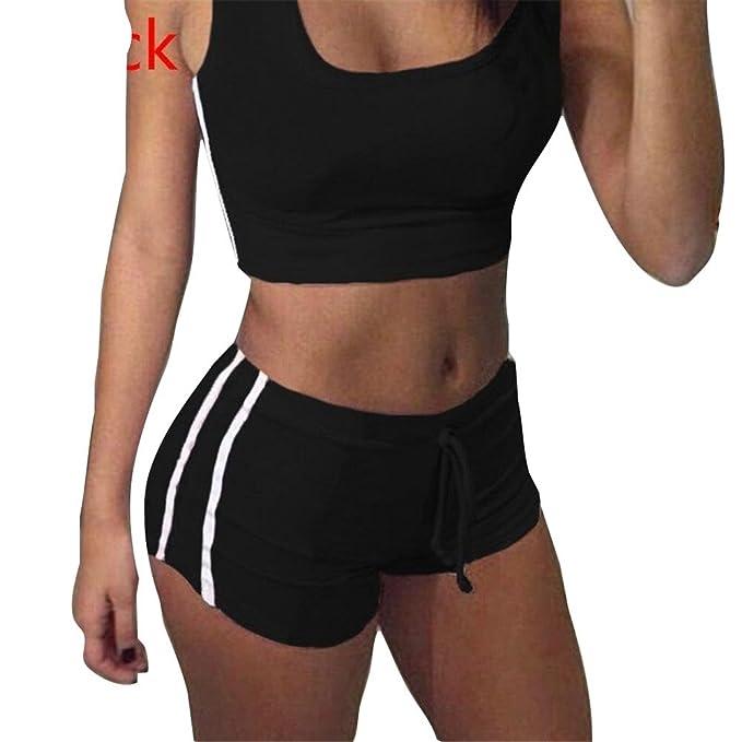 Juleya Juegos Yoga Mujer Bra + Shorts Traje de Deporte Mujer Chándal cómodo Suave Raya Tops Pantalones Deportivos Equipo de Gimnasia para Correr, Yoga ...