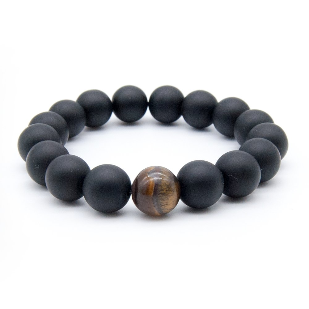 Anbivi Mens Black Matte Agate & 1 Tiger Eye Stone Gemstone Buddha Prayer Beads Healing Energy Elastic Bracelet anbivi1112166