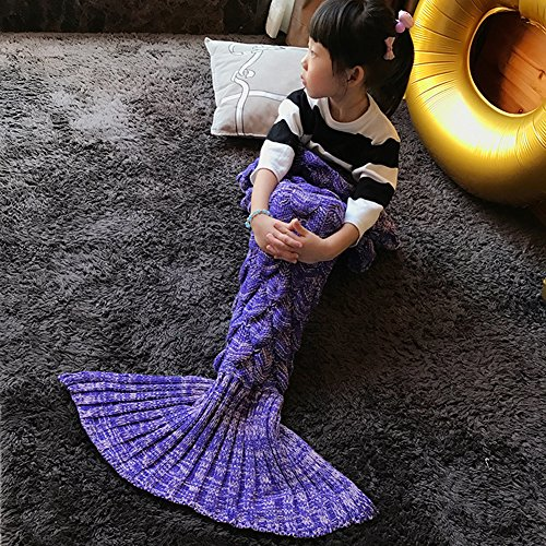 Handmade Mermaid Tail Blanket Crochet , Ibaby888 All Seasons Warm Knitted Bed Blanket Sofa Quilt Living Room Sleeping Bag for Kids and Adults(Kids / 55.1