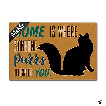 msmr Funny alfombrilla de puerta entrada puerta delantera alfombrilla casa gato casa Felpudo decoración de interior al aire libre Felpudo antideslizante de ...