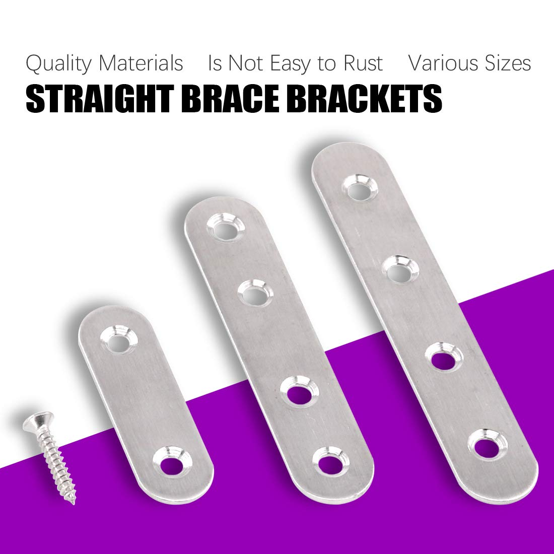 Swpeet 115Pcs 3 Sizes Stainless Steel Flat Straight Brace Brackets Metal Shelf Support Brackets Joining Plate with Screws Perfect for Mending Repair Plates Fixing Bracket Connector 50mm// 80mm// 100mm