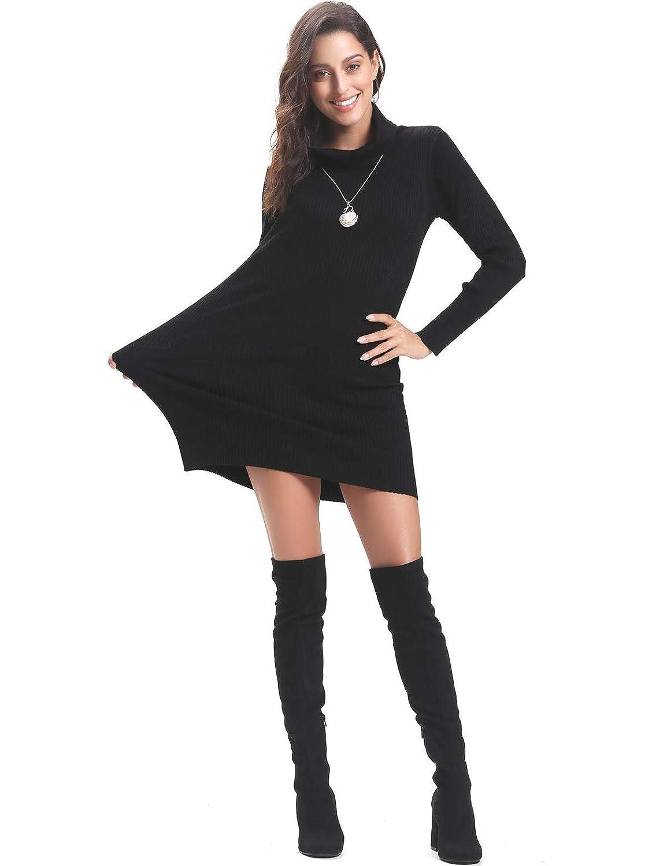 Aibrou Vestito Maglioni Donna Invernali Eleganti Collo Alto a Manica Lunga Pullover