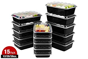 ISO Meal Prep Containers (12/28/38, 15 Count Black)
