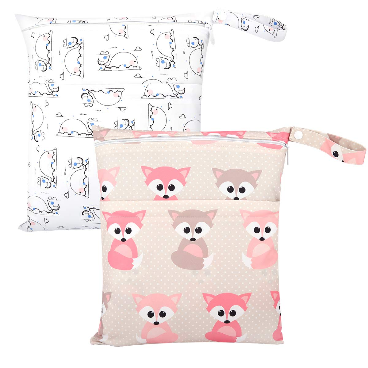 Zooawa Wet Dry Bag 2 Pack Waterproof Reusable Portable Cloth Diapers Wet Bag With Double Zippered Pockets Carrying Storage Travel Bag Organizer for Baby Infants Giraffe Alphabet Animals