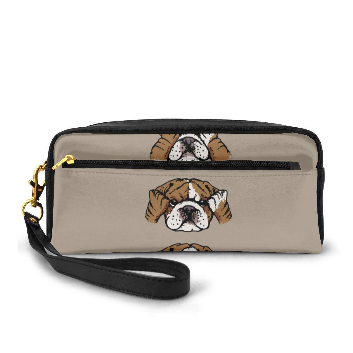 English Bulldog Canvas Makeup Bag Pouch Purse Handbag Organizer with Zipper