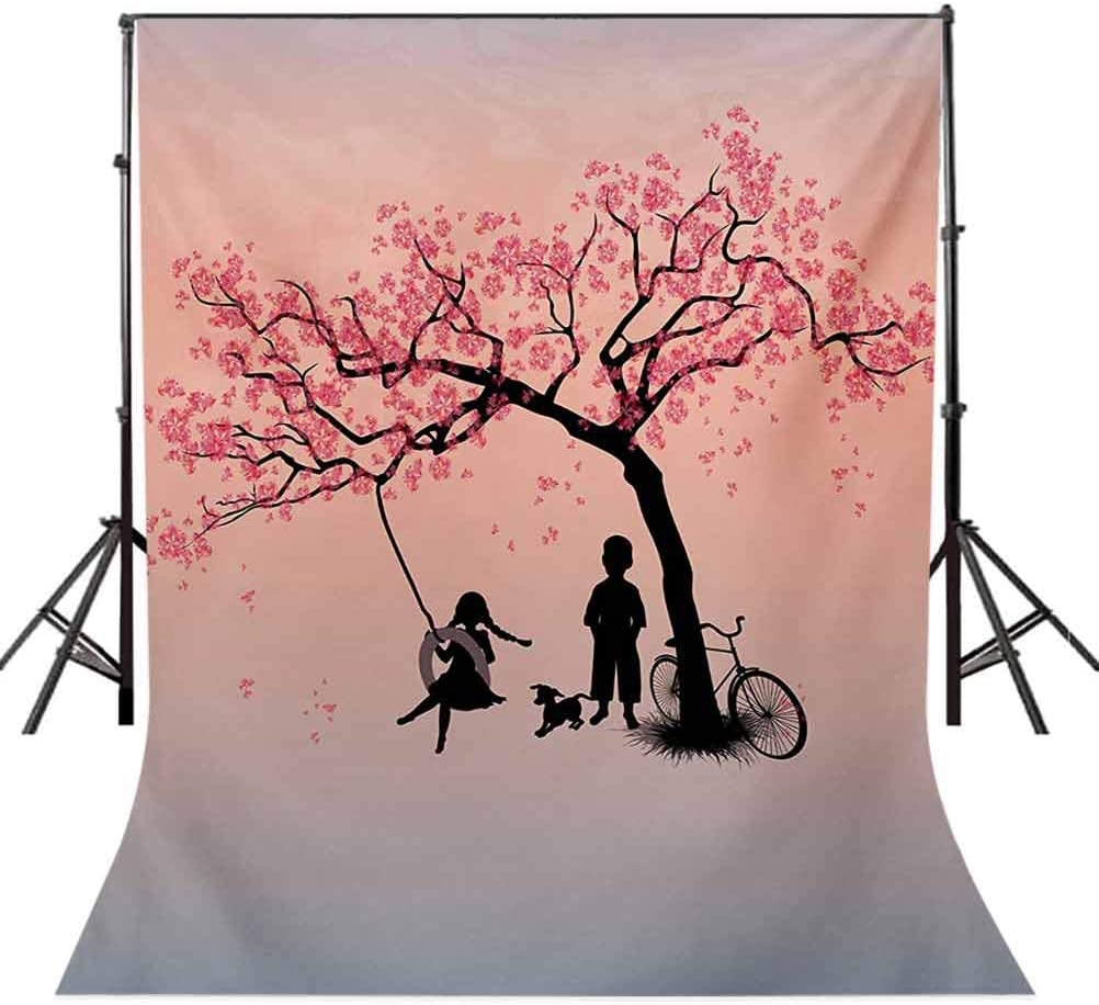 10x12 FT Photo Backdrops,Children Playing on a Tire Swing Under Cherry Tree with Dog Blossom Spring Art Background for Kid Baby Boy Girl Artistic Portrait Photo Shoot Studio Props Video Drape Vinyl