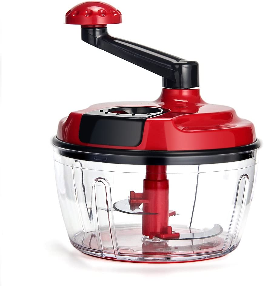 Momugs 8 Cup Red Food Processor, Manual Hand-powered Crank Large Chopper Mincer Blender Mixer Cutter with Clear Container