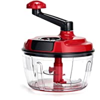 Momugs 8 Cup Red Food Processor, Manual Hand-Powered Crank Large Chopper Mincer Blender Mixer Cutter with Transparent Container for Baby Kids Toddler to Chop Meat Fruits Vegetables Onions Garlics