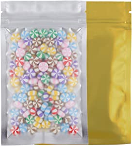 "100 Assorted Translucent/Silver/Colored Flat Metallic Foil Mylar Zip Lock Bags Pouch 8.5x13cm (3.3x5.1"") (Gold)"