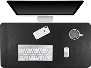 Gogloo Multifunctional Office Desk Pad, Dual Sided PU Leather Mouse Pad, Thin and Waterproof Desk Blotter Protector, Desk Writing Mat for Office/Home (Black, 23.6