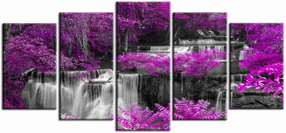 LevvArts - 5 Piece Canvas Wall Art Purple Trees Forest Black and White Waterfall Landscape Picture Canvas Prints for Living Room Decoration Autumn Painting Framed Ready to Hang