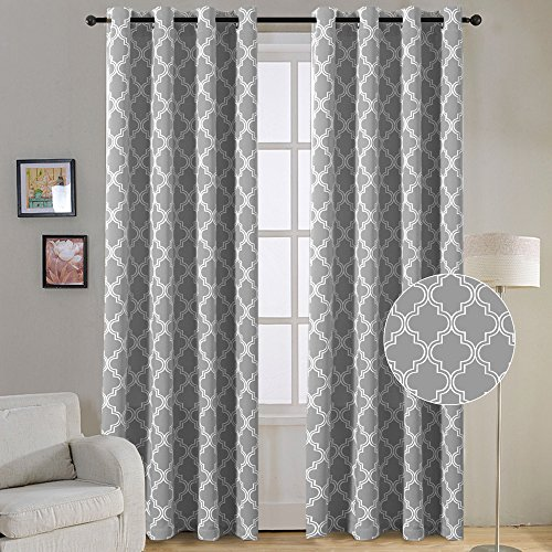 FlamingoP Room Darkening Moroccan Tile Quatrefoil Blackout Top Grommet  Unlined Thermal Insulated Window Curtains, Set Of Two Panels, Each 84 By  52, Gray