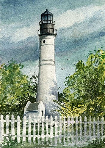 Key West Lighthouse Florida Keys Matted Watercolor Art Prints - Lighthouse Watercolor