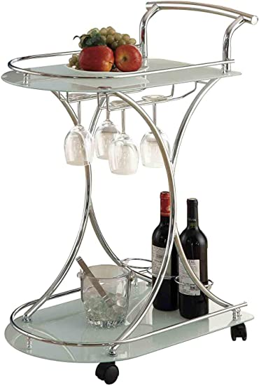 Coaster Home Furnishings Chrome and White Serving Cart | Amazon