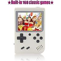TFHEEY Consola de Juegos portátil, Consola de Juegos 3 Pulgadas 168 Juegos Retro FC Game Player Clásico Consola de Juegos 1 Carga USB, Regalos de cumpleaños para niños (Blanco)