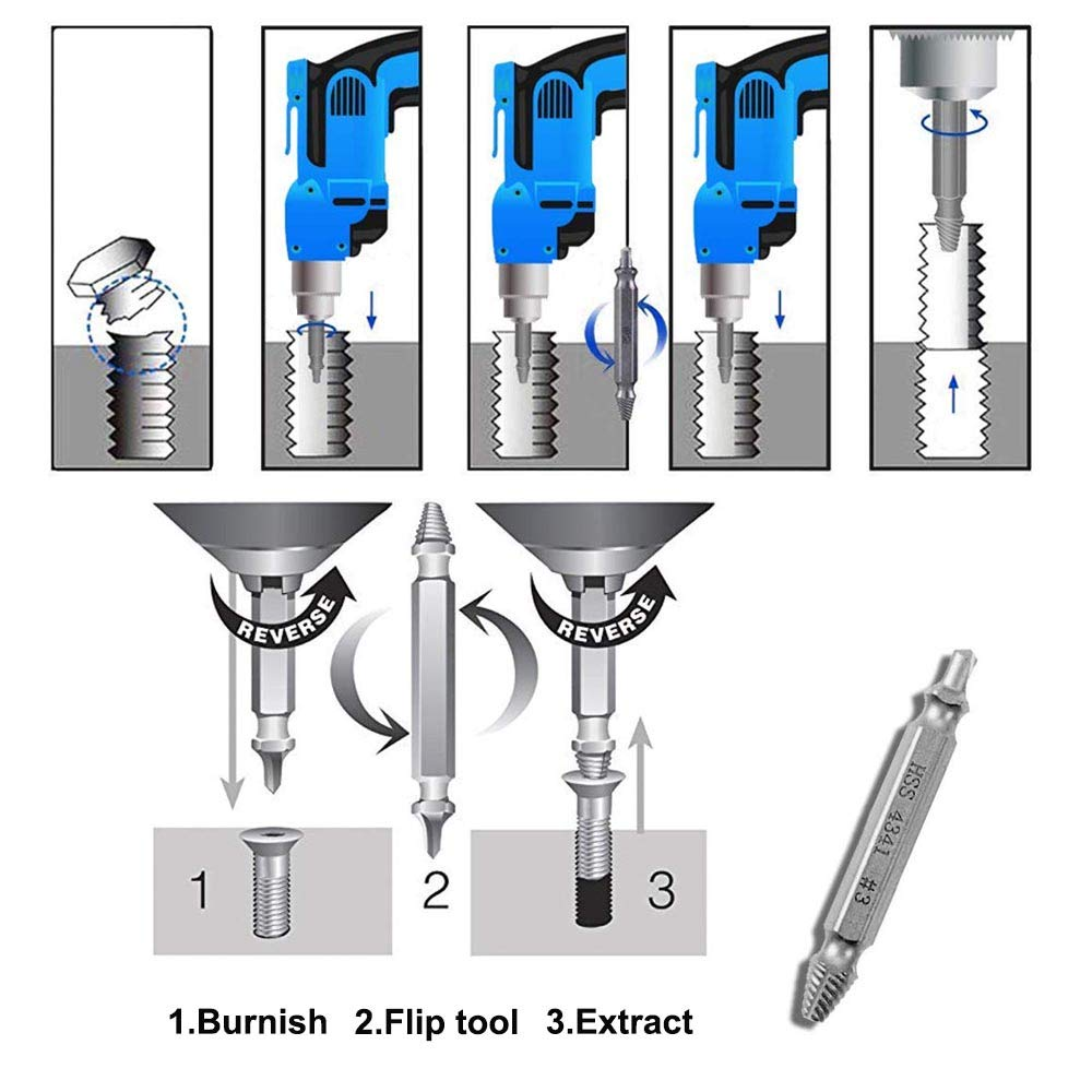 Damaged Screw Extractor Kit Stripped Screw Extractor Set (5PCS) H.S.S 4341 Has A Good Hardness Suitable for People Who Like to Reassemble Furniture