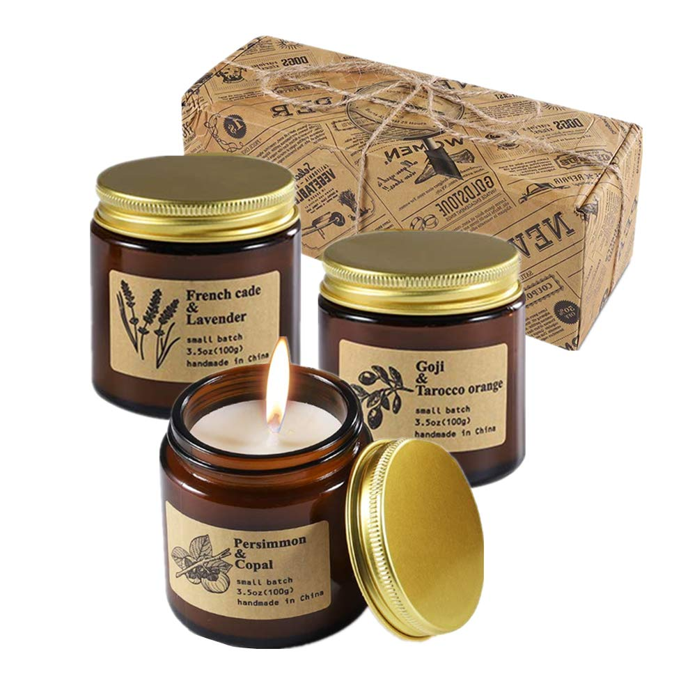 GBATERI Scented Candles Gift Set Amber Jar Natural Soy Wax Candle 3.5 Oz Unit Aromatherapy Candles for Relaxation Perfect Women /& Men Gifts for Birthday Christmas Anniversary Stress Relief Home