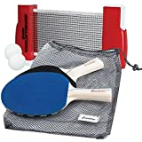 Franklin Sports Table Tennis To-Go – Complete Portable Ping-Pong Set – Includes Ping-Pong Paddles, Balls, and Net, Plus Easy-Carry Bag – Easy Set-Up – Expands to 6' – Easily Attaches to Table Surfaces