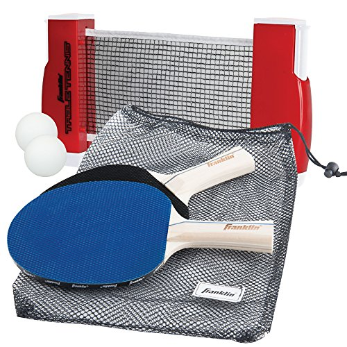 Dining Table Set Game Room (Franklin Sports Table Tennis To-Go – Complete Portable Ping-Pong Set – Includes Ping-Pong Paddles, Balls, and Net, Plus Easy-Carry Bag – Easy Set-Up – Expands to 6' – Easily Attaches to Table Surfaces)