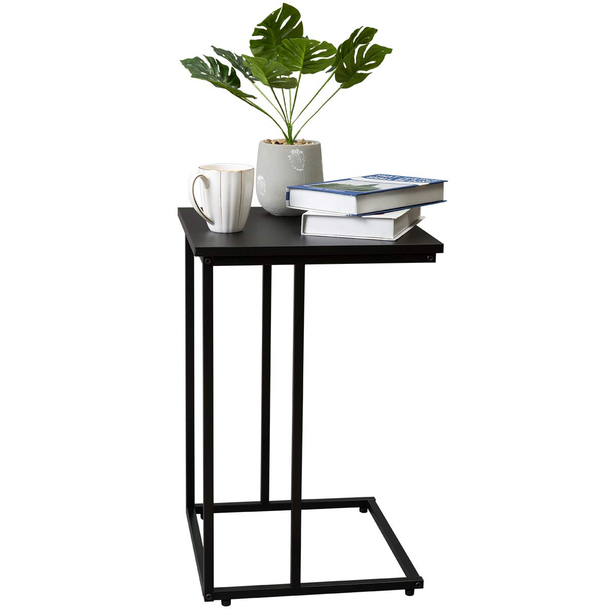 Marble Field C Shaped Snack End Table, Modern Accent Couch Side Table for Living Room Bedroom, Sturdy Metal Finish, 15.7 x 15.7 x24 , Black