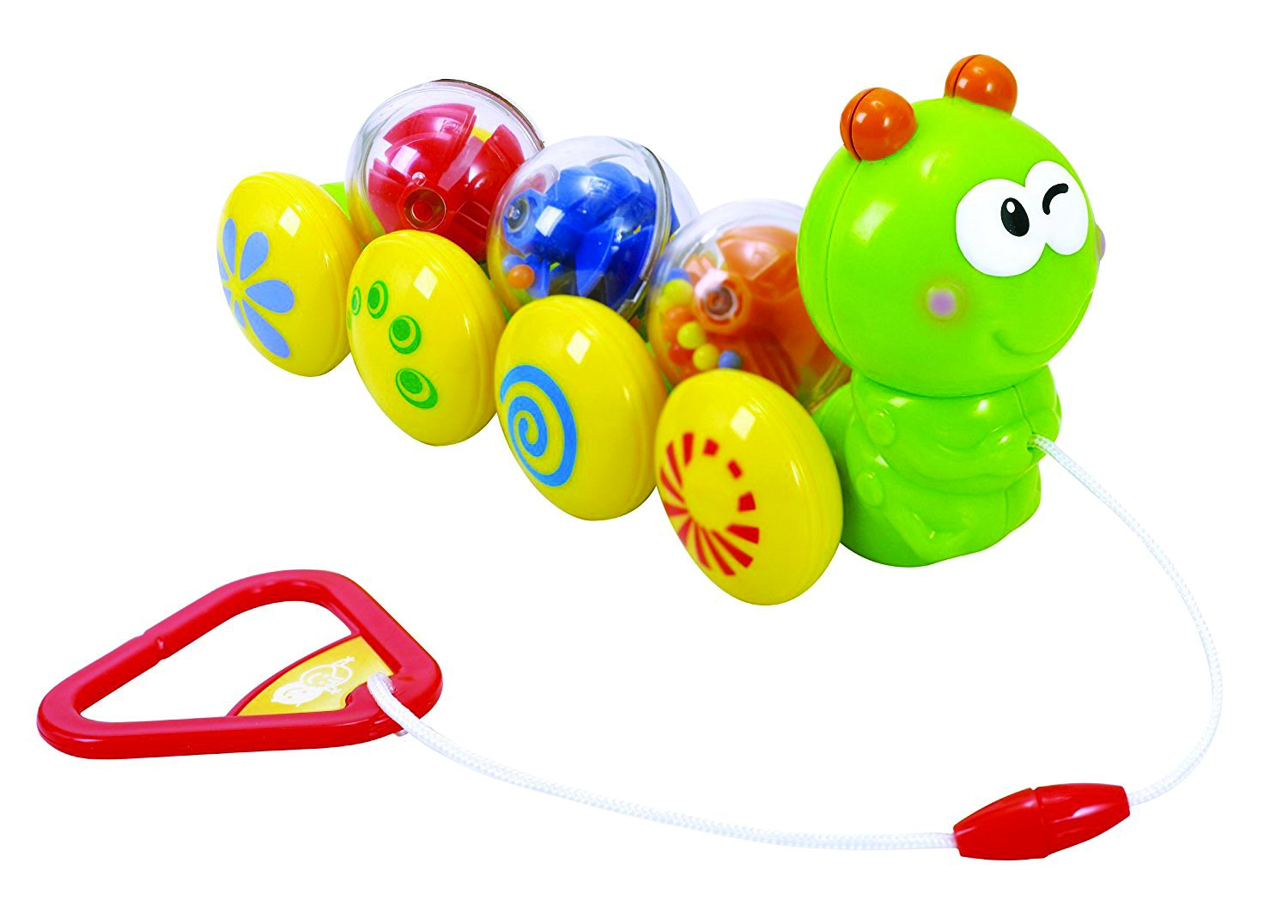 KidSource Wiggly Caterpillar Baby Pull-Along Toy, Green, Blue, Red, Yellow