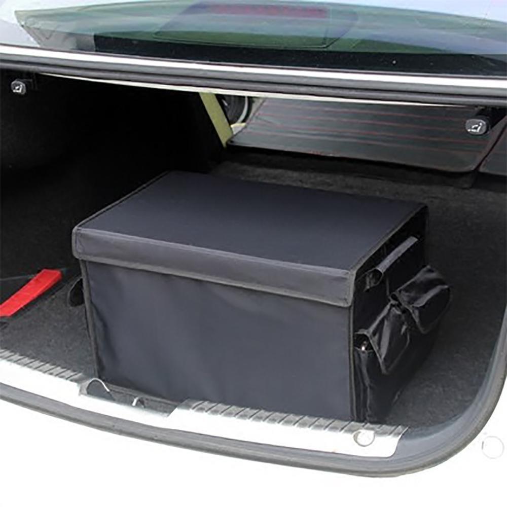 LPY-Organisateur de coffre de voiture, récipient pliable de stockage d'épicerie pliable et empaquetable avec 3 poches latérales de compartiments pour le camion automatique de voiture Minivan ou SUV