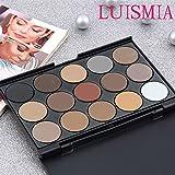 Eyeshadow Palette - Luismia 15 Colors Waterproof Smoky Natrual Naked Make up Eye shadow Kit Eyebrow Mineral Powder kit
