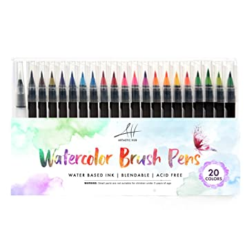 20 Watercolor Brush Pens w/ A Water Coloring Brush - Watercolor ...