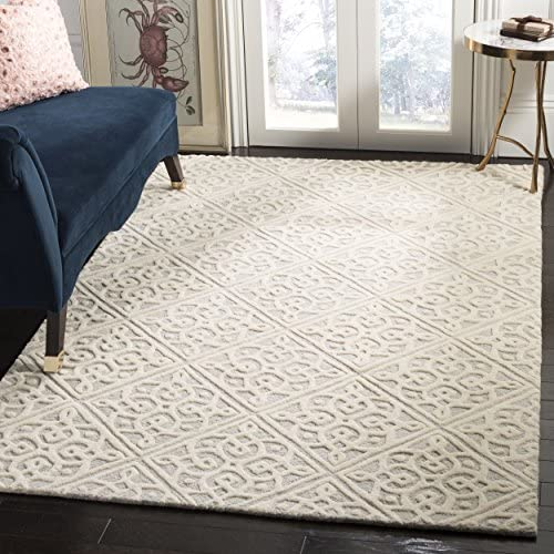 Safavieh Cambridge Collection CAM731G Light Grey and Ivory Elegant Trellis Area Rug 8' x 10'
