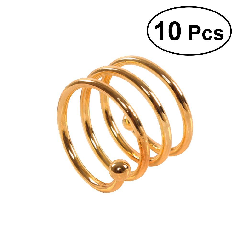 OUNONA 10 Stücke Spirale Serviettenringe für Zuhause, Küche, Esszimmer (Golden)