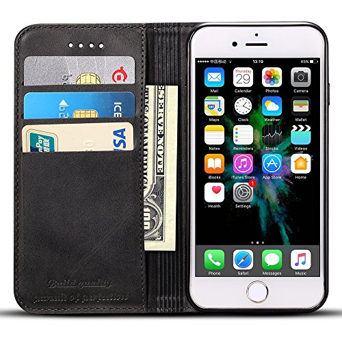 Wallet Case for iPhone 7 Plus/iPhone 8 Plus, PU Leather Wallet Cellphone Case Flip Folio [Kickstand Feature] ID&Credit Card Slots Note Pocket for Apple iPhone 8+ / 7+ 5.5 inch (Black) for Men Women