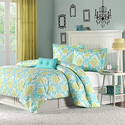 Mizone Katelyn 3 Piece Comforter Set, Twin/Twin X-Large, Teal - 1 Comforter, 1 Standard Sham, 1 Pillow Comforter/Sham: 100% polyester peach skin, printed, 100% brushed polyester reverse, 200g polyester filling Pillow: polyester cover and polyester fill Measurements: 66-by-90-inch Comforter, 20-by-26-inch Standard Sham, 10-by-18-inch Pillow - comforter-sets, bedroom-sheets-comforters, bedroom - 61 xJb HSZL. SS400  -