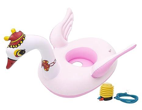 GEMVIE Flotador Bebé Inflable Hinchable con Asiento Piscina Verano Cisne Diámetro/26cm Rosa
