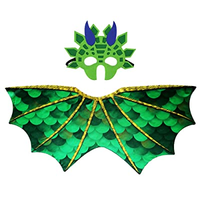 Toddler Kids Dinosaur Wings Costume Cape and Mask for Boys Girls Dragon Dress Up Party Games (Green): Clothing