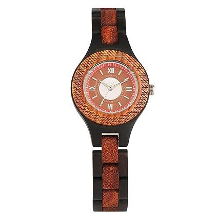 Amazon.com: Elegante reloj de esfera pequeña de madera para ...