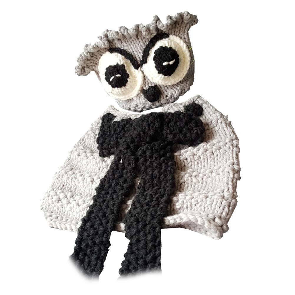 BESTOYARD Cute Owl Scarf Hat Set Animals Caps Neck Warmer Wrap Wool Knitted Beanie Scarves for Children Kids (Grey)