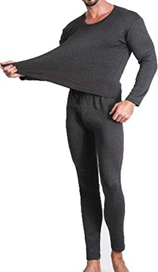 Femaroly Mens Crew Neck Large Size Thermal Underwear Set Ultra Soft Top and Long Johns