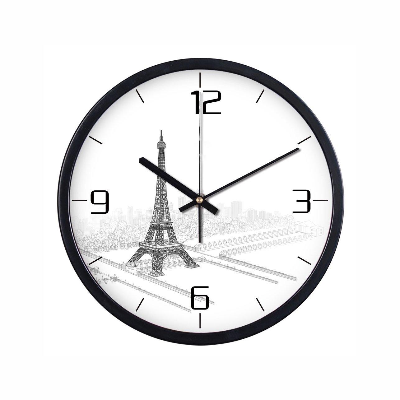 ヨーロッパのラウンドレトロメタルミュートの壁時計エッフェル塔のリビングルームのベッドルーム創造的な装飾的な壁のチャートサイレントクォーツ時計 (色 : ブラック, サイズ さいず : S s) B07CYS2MCJ S s|ブラック ブラック S s