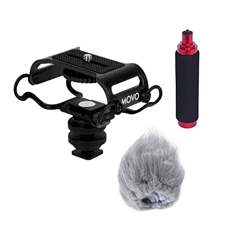 Movo AEK-Z4 Accessory Kit for the Zoom H2n, H4n, H5, H6, Tascam DR-40,  DR-05, DR-07 (Includes Shockmount, Camera Shoe, Furry Windsceeen and Hand  Grip)