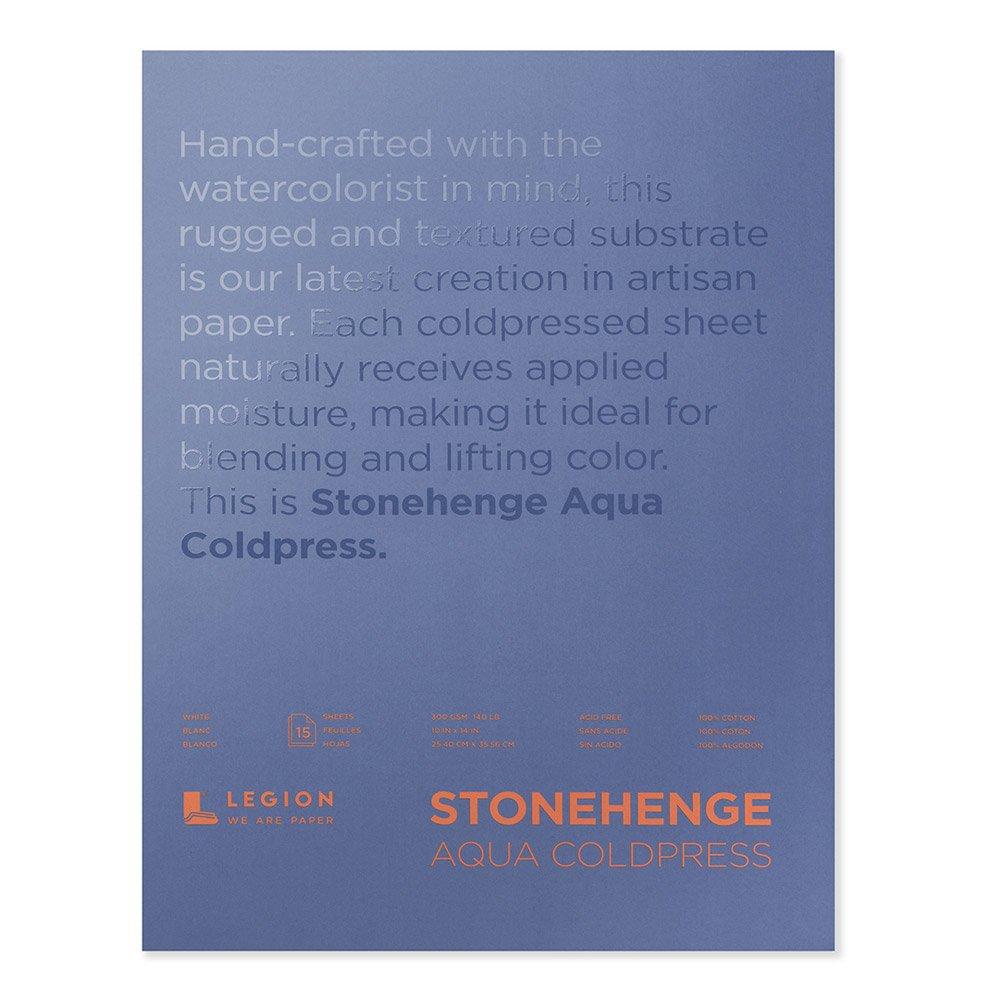 Legion Stonehenge Aqua Watercolor Block, 140lb. Cold Press, 10 X 14 inches, White, 15 Sheets (L21-SQC140WH1014) by Stonehenge Aqua