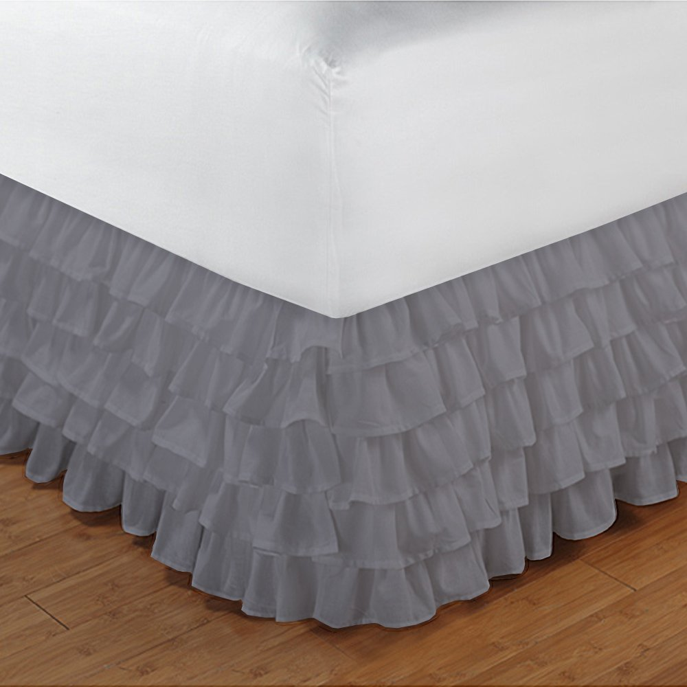 Relaxare Twin XXL 300TC 100% Egyptian Cotton Silver Grey Solid 1PCs Multi Ruffle Bedskirt Solid (Drop Length: 20 inches) - Ultra Soft Breathable Premium Fabric
