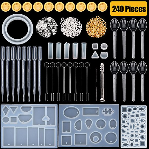HTKstore Silicone Resin Molds Resin Casting Molds with Stirrers, Droppers, Spoons, Finger Cots,Hand Twist Drill and Screw Eye Pins, 240 Pieces Totally by HTKstore