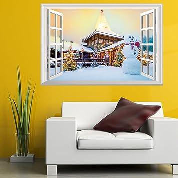 Amazon.com: Eachon Christmas Holiday Window 3d Wall Stickers ...