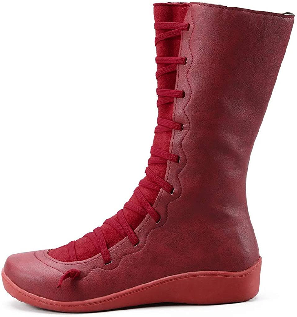Kauneus Womens Comfy Soft Leather Ankle Booties Creative Cross Strap Side Zipper Winter Warm Casual Short Boot