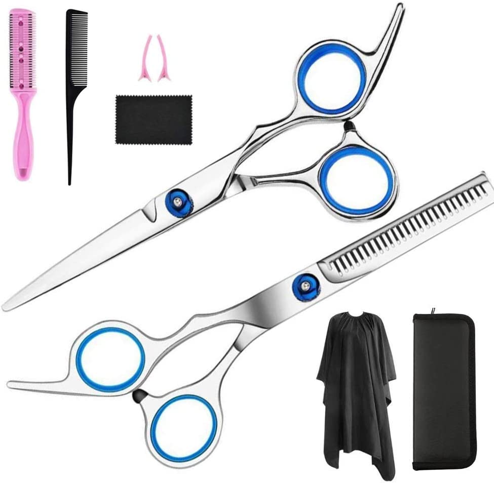 Hair Cutting Scissors, 321OU 10 Pcs Hair Cutting Kit Professional Barber Sharp Hair Scissors Hairdressing Shears Kit with Haircut Accessories in Leather Case for Home Salon Women Men Kids Pet