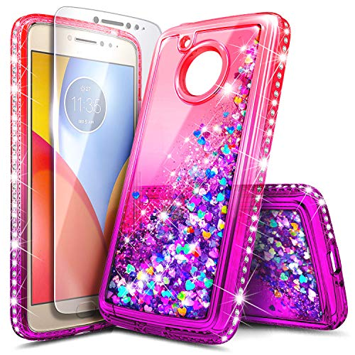 Moto G5 Plus Case with Tempered Glass Screen Protector for Girls Women, NageBee Glitter Liquid Sparkle Bling Floating Waterfall Durable Cute Case for Motorola Moto G Plus (5th Generation) -Pink/Purple